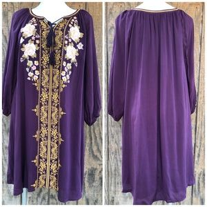 Andrew Dress Purple Gold Embroidery Tunic Style 2X